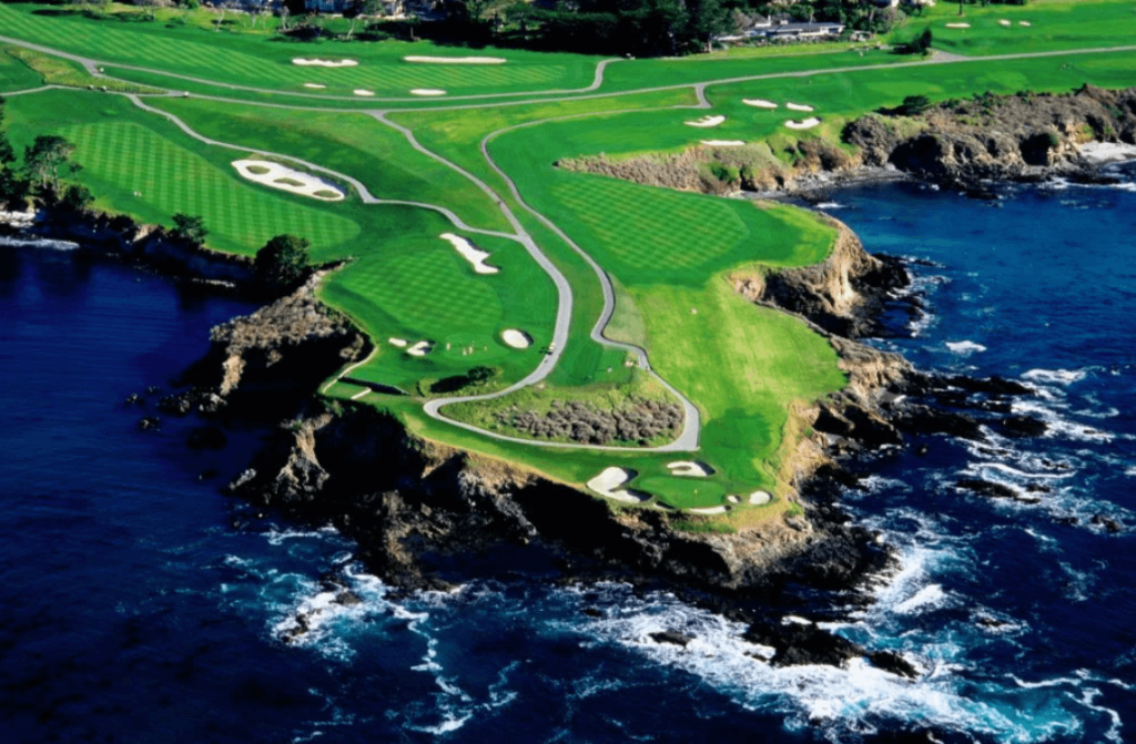 Pebble Beach Golf Course drone view